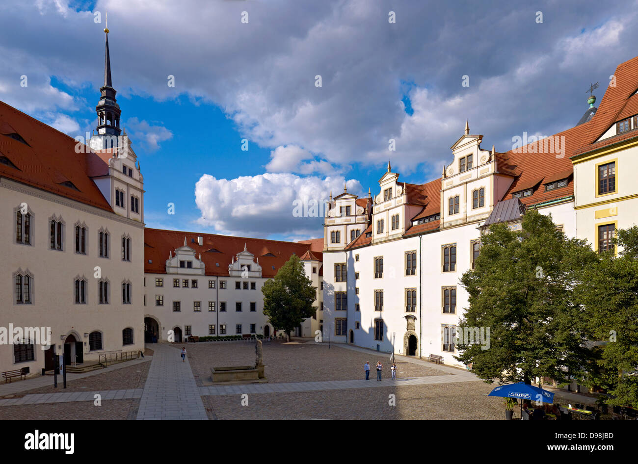 Courtyard of Hartenfels Castle, Torgau, Saxony Germany Stock Photo