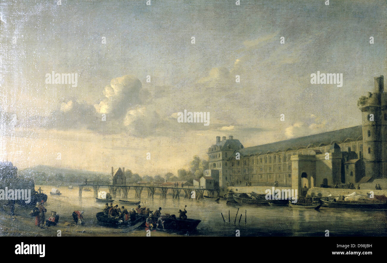 View of the Seine and the Gallery of the Louvre' c1650. Reiner Nooms, called Zeeman (c1623-1664) Dutch painter. - Stock Image