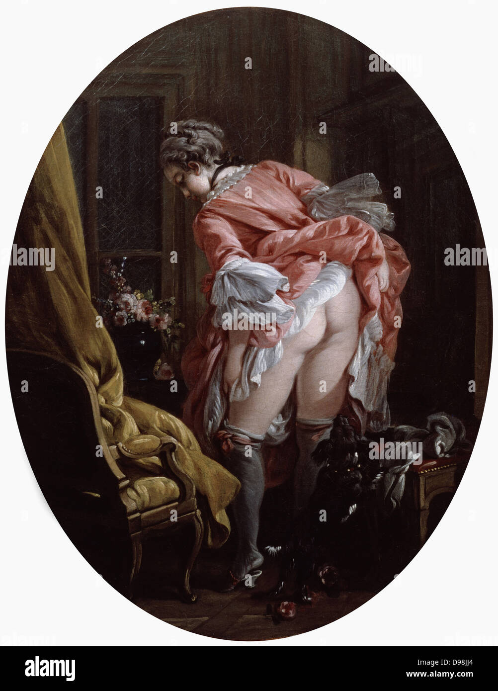 La Jupe relevee' (The Raised Skirt), 1742, oil on canvas. Francois Boucher (1703-1770) French Rococo painter - Stock Image