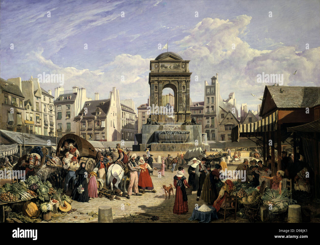 View of the Market and Fountain of the Innocents', Paris, 1822. Oil on canvas. John James Chalon (1778-1854) British Stock Photo