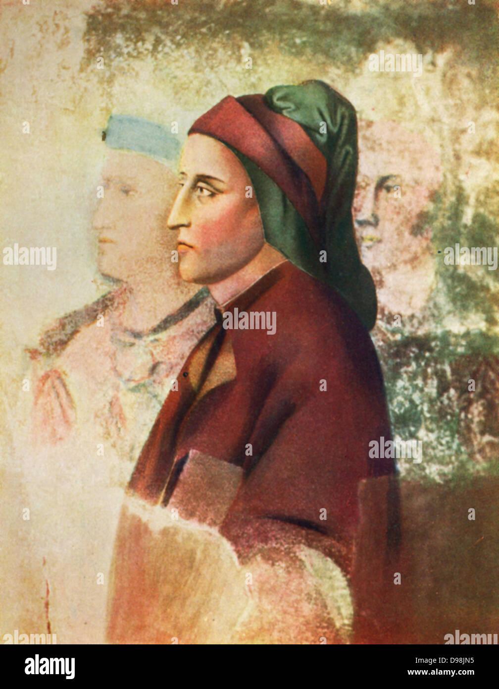 Dante Alighieri (c1265-1321) known as Dante, Italian poet. Portrait c1495 by Sandro Botticelli (c1445-1510) Italian - Stock Image