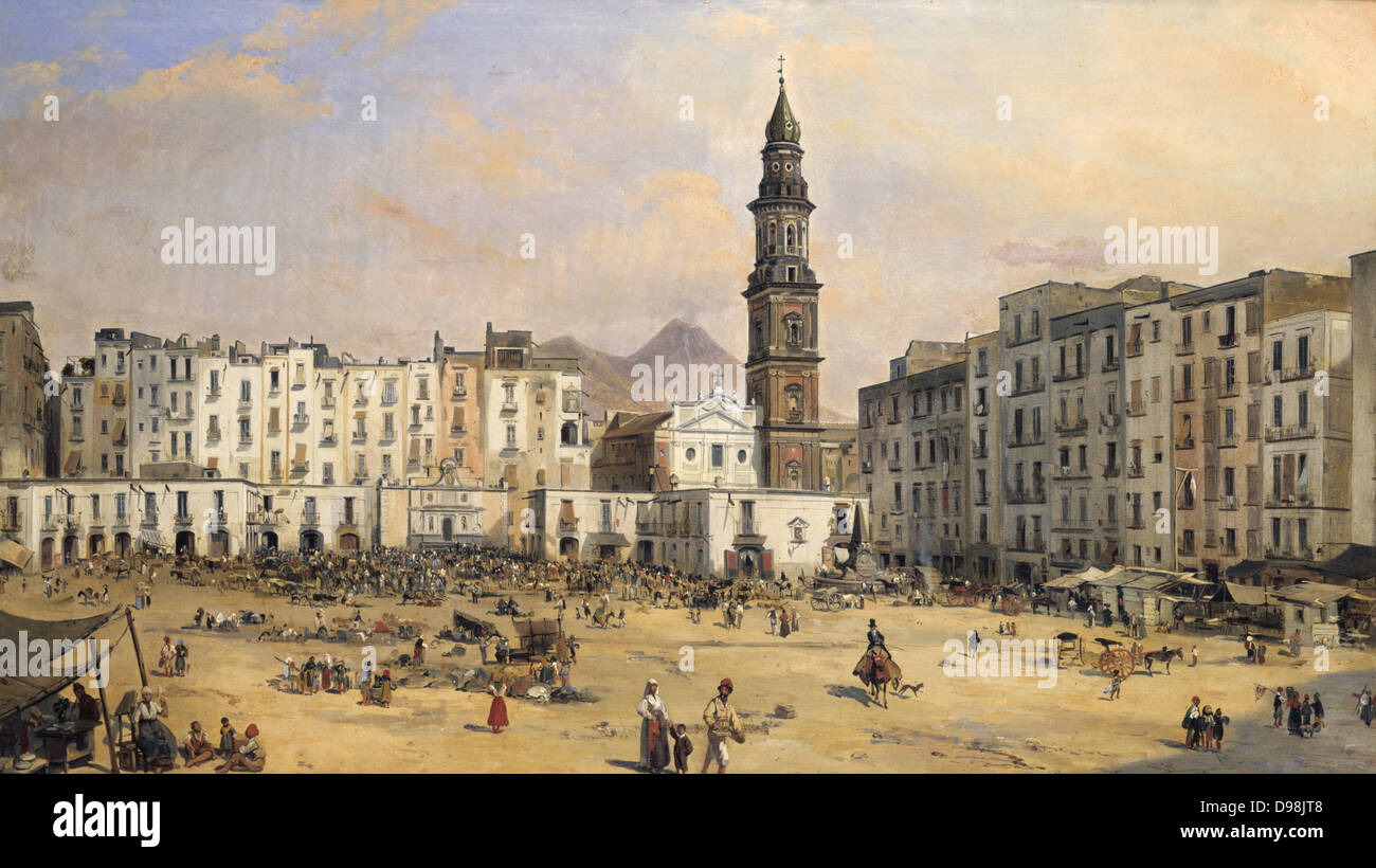 Piazza del Carmine, Naples' by Jean-Auguste Bard (b1812, active 1831-1861) French painter. Behind the Church - Stock Image