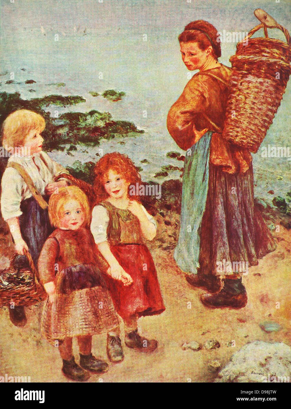 Perre Auguste Renoir: The mussel fishers at berneval 1879 - Stock Image