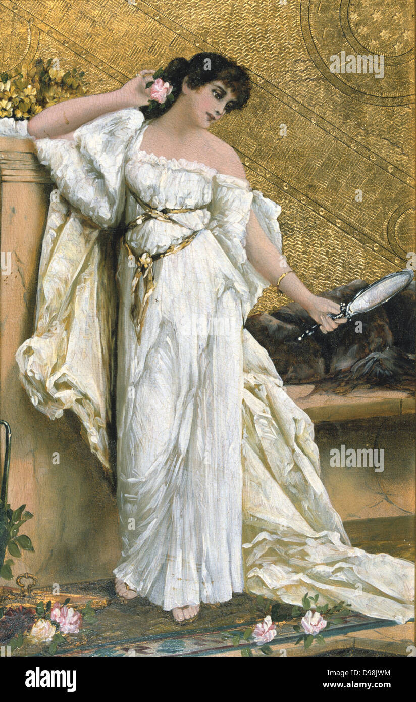 L'elegante': French School, 19th century. A fashionable dark-haired beauty in Grecian-style white dress - Stock Image