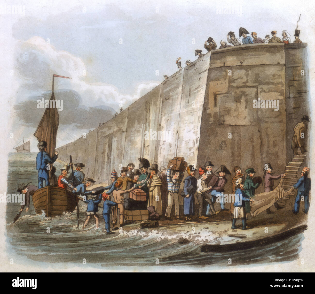 Arriving at Calais', Aquatint, London, 1816. Travellers from England landing in France with their luggage, some Stock Photo