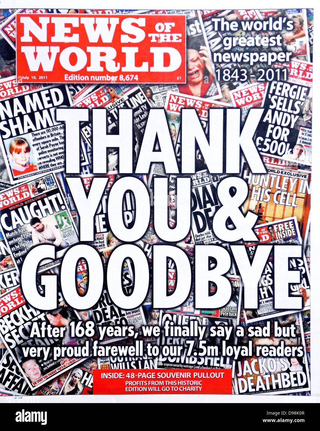 The 'News of the World' Newspaper 10th July 2011. The commemorative final edition of the newspaper. - Stock Image