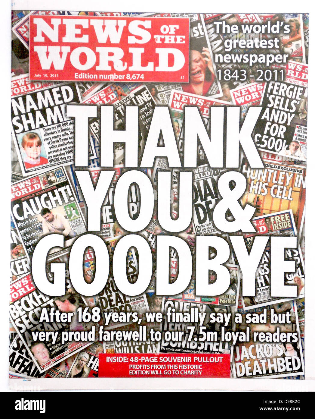 The 'News of the World' Newspaper 10th July 2011. Final issue. - Stock Image