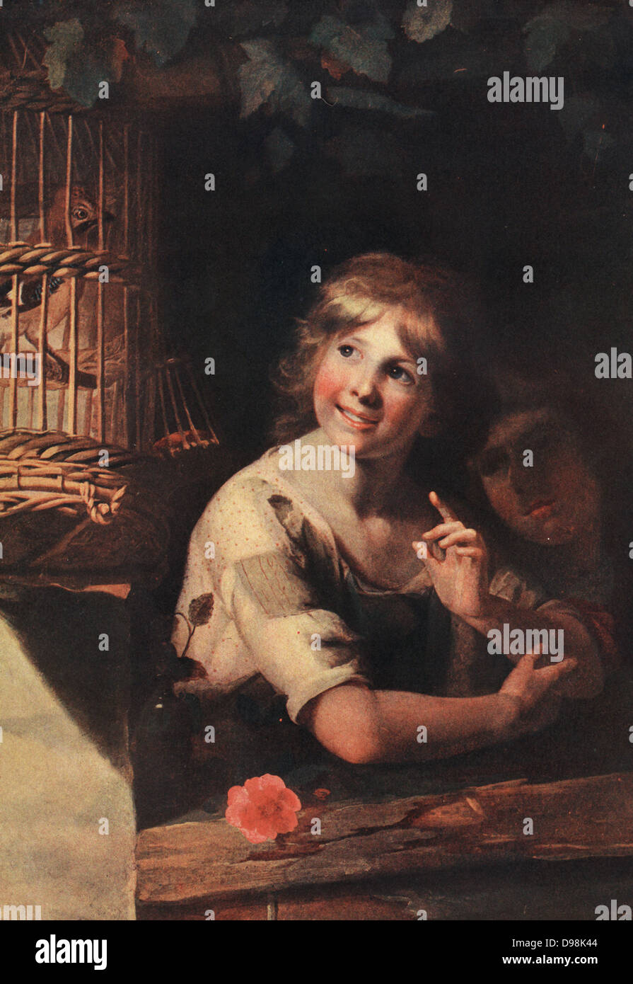 Two children with a Jay in a cage painted by W M Peters - Stock Image