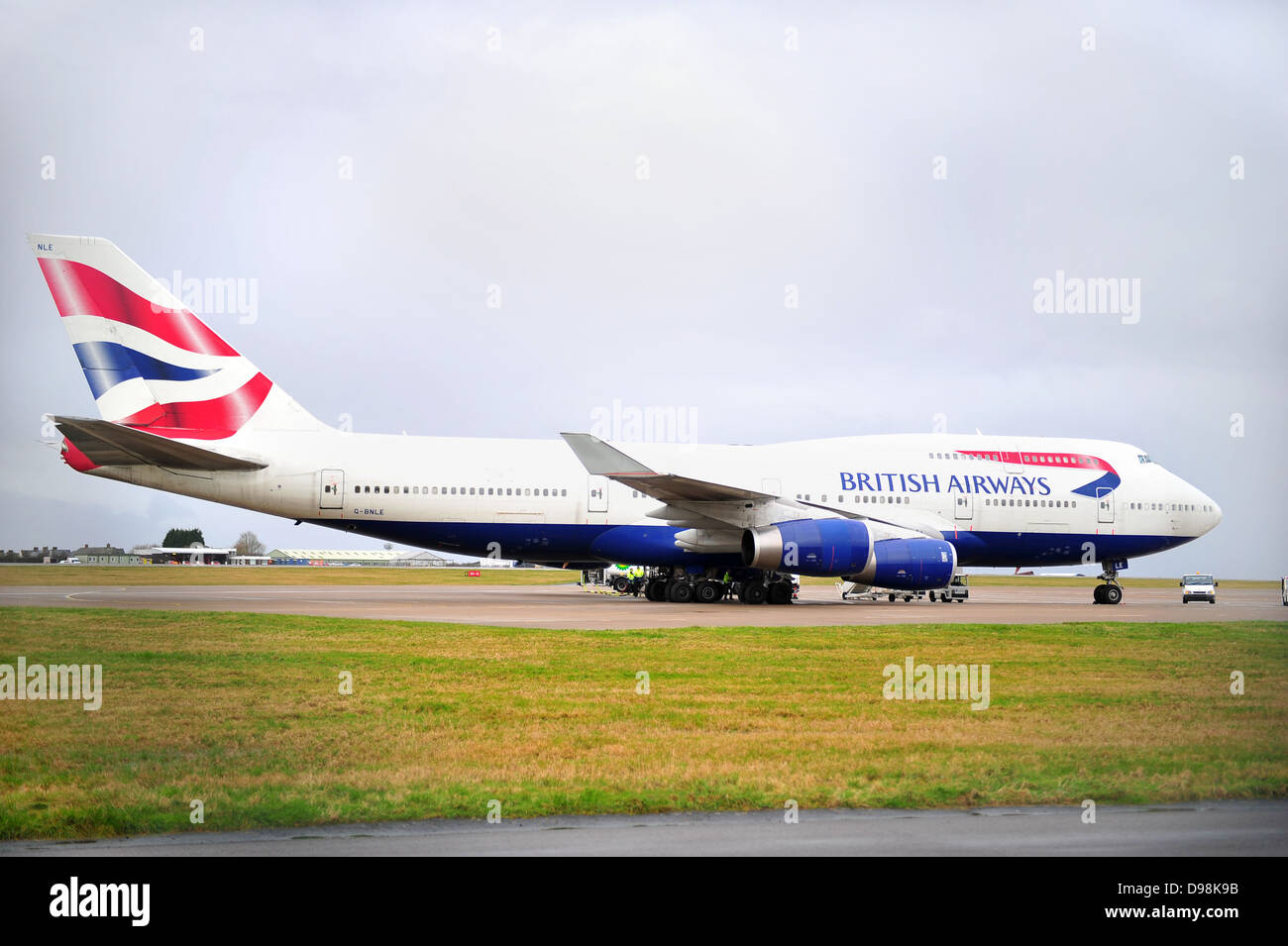 A British Airways Boeing-747 on the ground at Cardiff Airport after making an emergency landing due to instrument - Stock Image