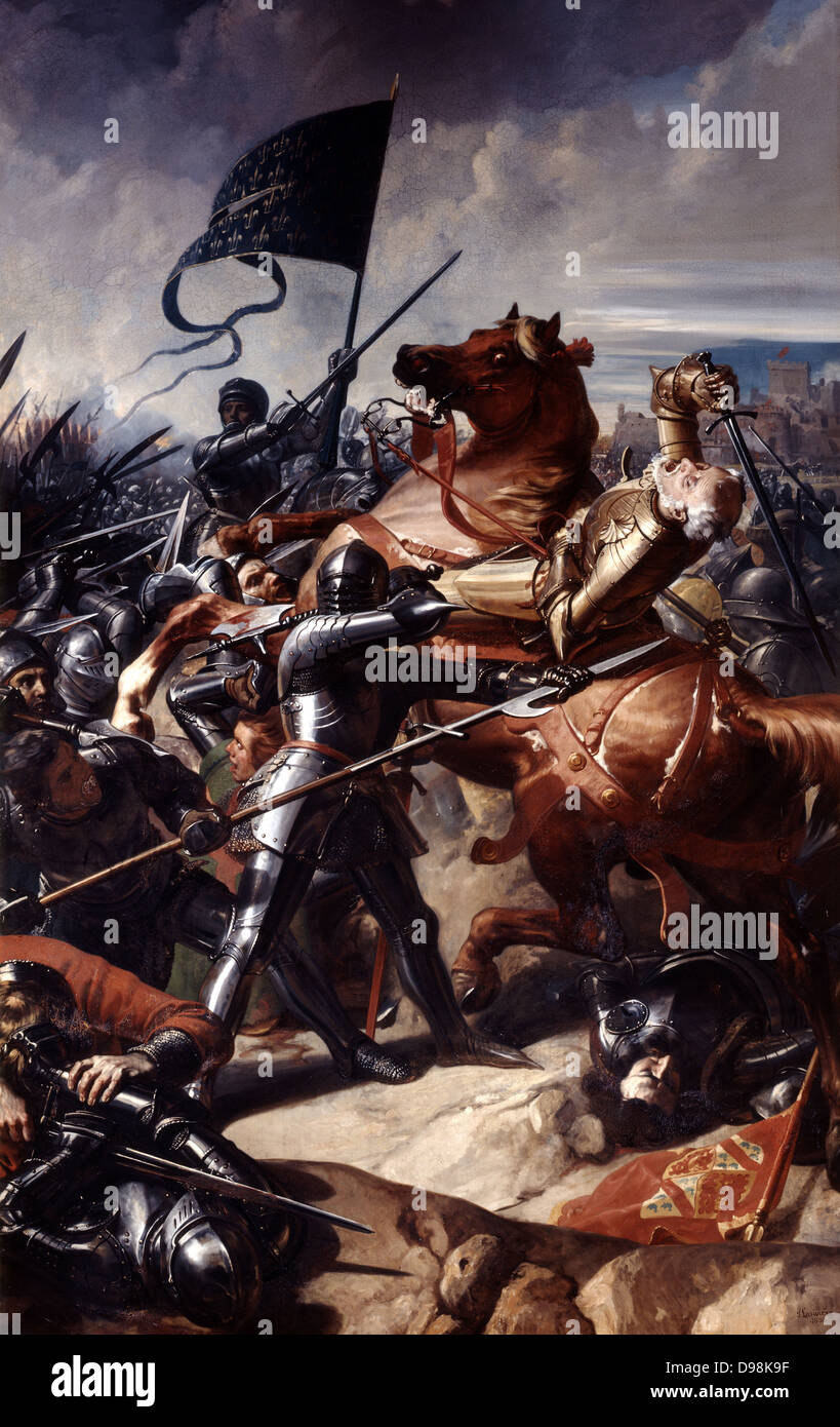 Battle of Castillon, 1453', last battle of the Hundred Years' War between England and France. Decisive French - Stock Image