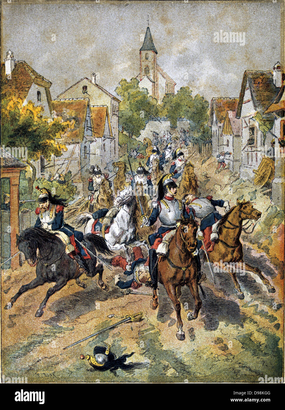 Franco-Prussian War 1870-1871: Battle of Reichshoffen also called Battle of Worth, 5 August 1870. French Cuirassiers Stock Photo