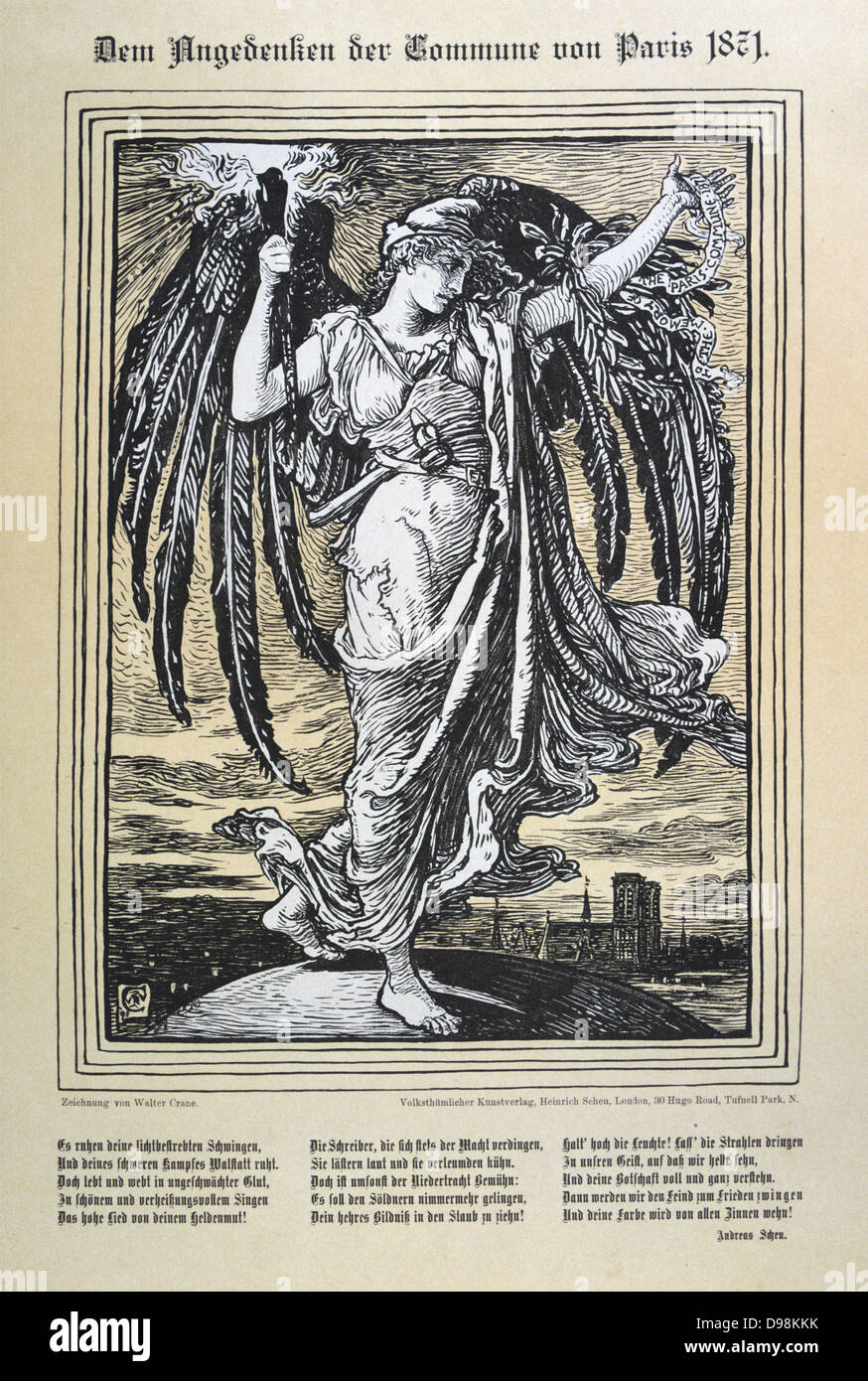 Allegorical representation of the Angel of the Paris Commune (26 March-28 May 1871). Illustration by Walter Crane Stock Photo