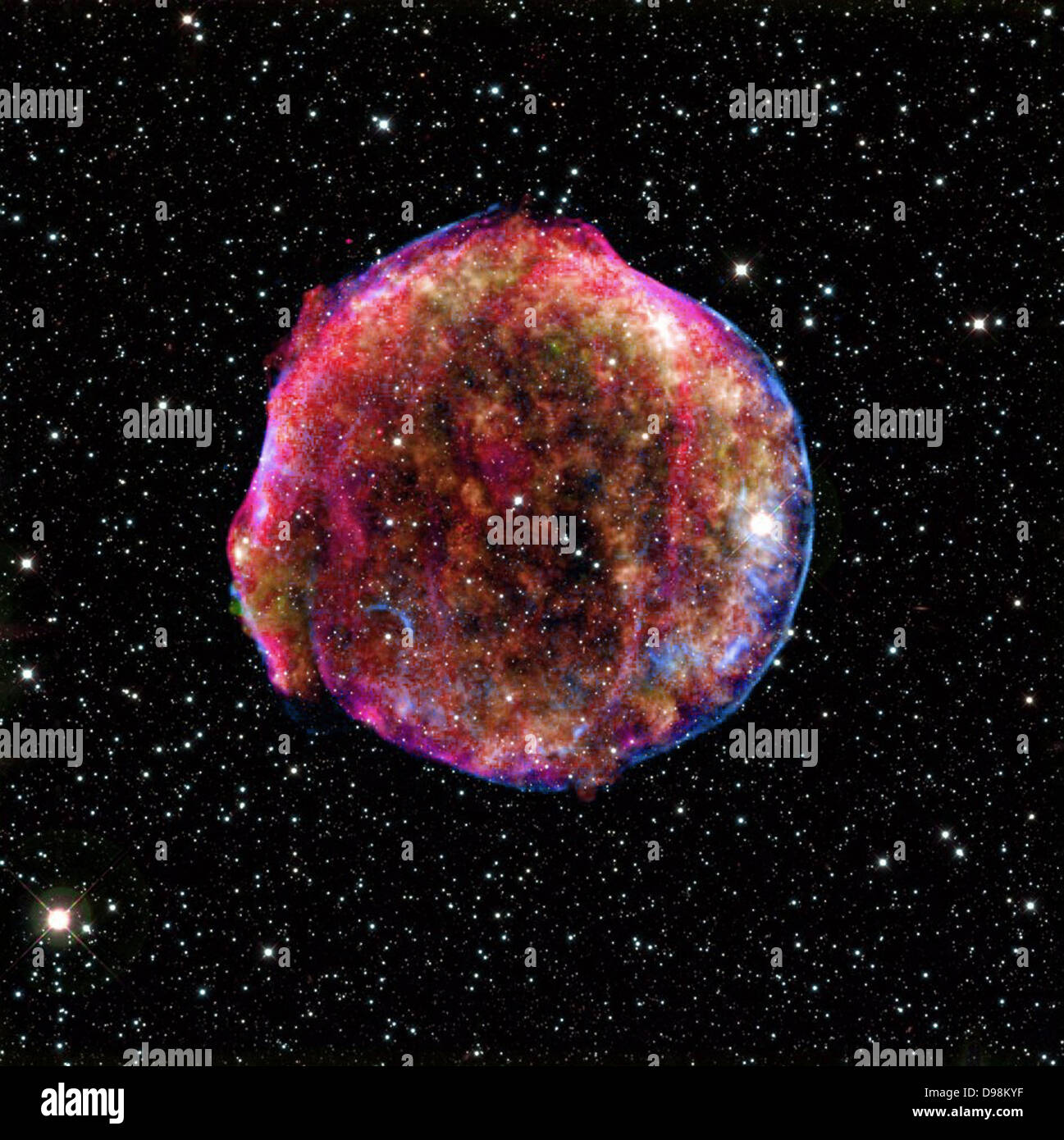 composite image of the Tycho supernova remnant combines infrared and X-ray observations obtained with NASA's - Stock Image