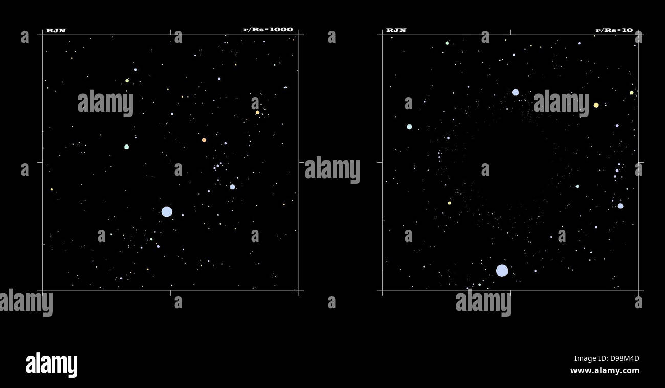 two computer generated images: On the left is a normal star field containing the constellation Orion. Notice the - Stock Image