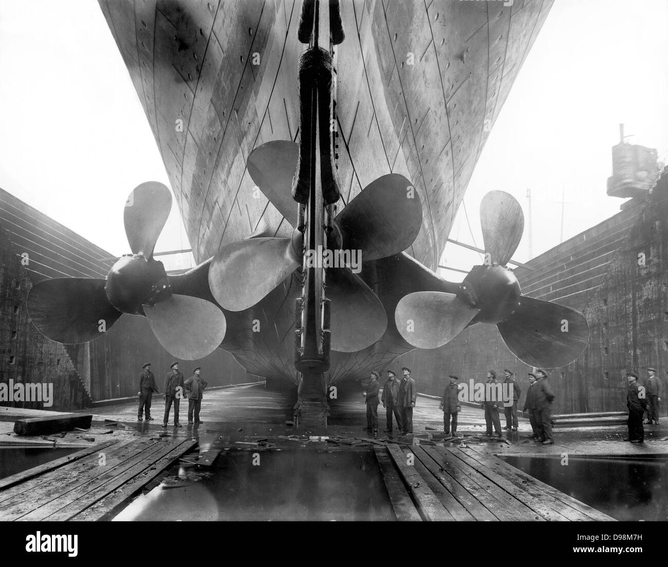 The Propellers of the Titanic in Dry Dock in Belfast, Ireland, before its' launch in 1912 - Stock Image