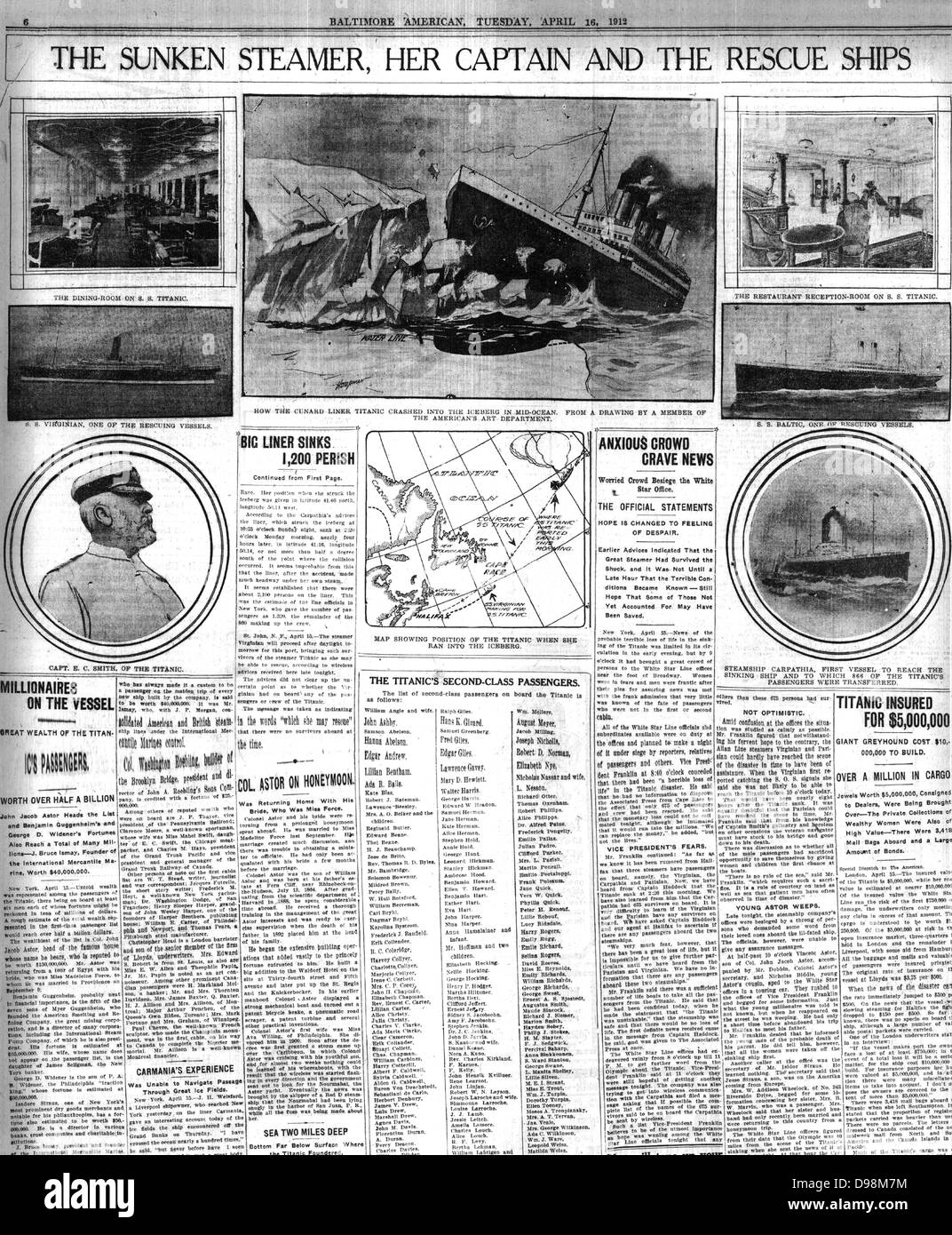 newspaper reporting of the sinking of the Titanic in 1912 - Stock Image