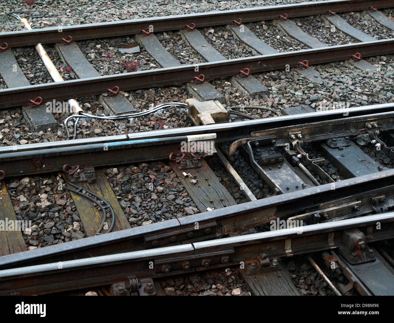 Rail track and Alstom equipment on railway line approaching Cardiff city from Swansea in South Wales UK . KATHY - Stock Image