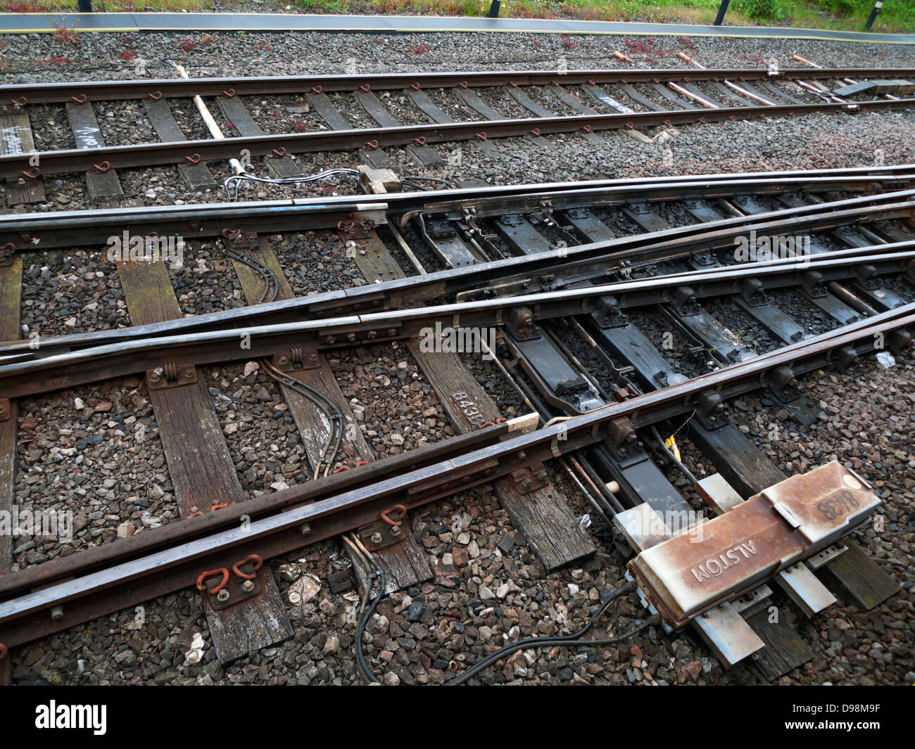 Alstom sign on box on rail track coming into Cardiff Wales UK .KATHY DEWITT - Stock Image