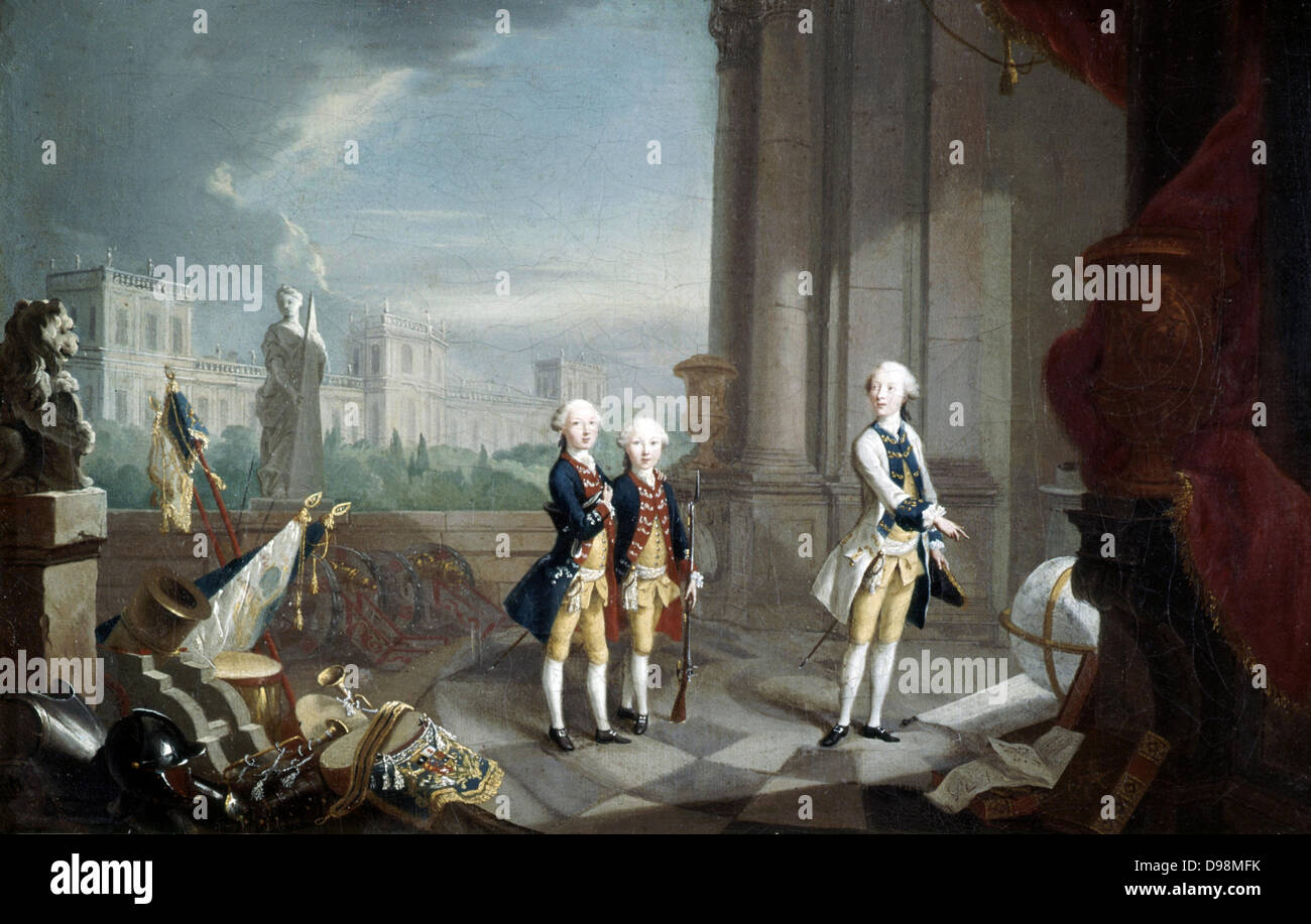 The Sons of Frederick II, Landgrave of Hesse-Kassel'. William (1743-1821), Charles (1744-1836), Frederick (1747 - Stock Image