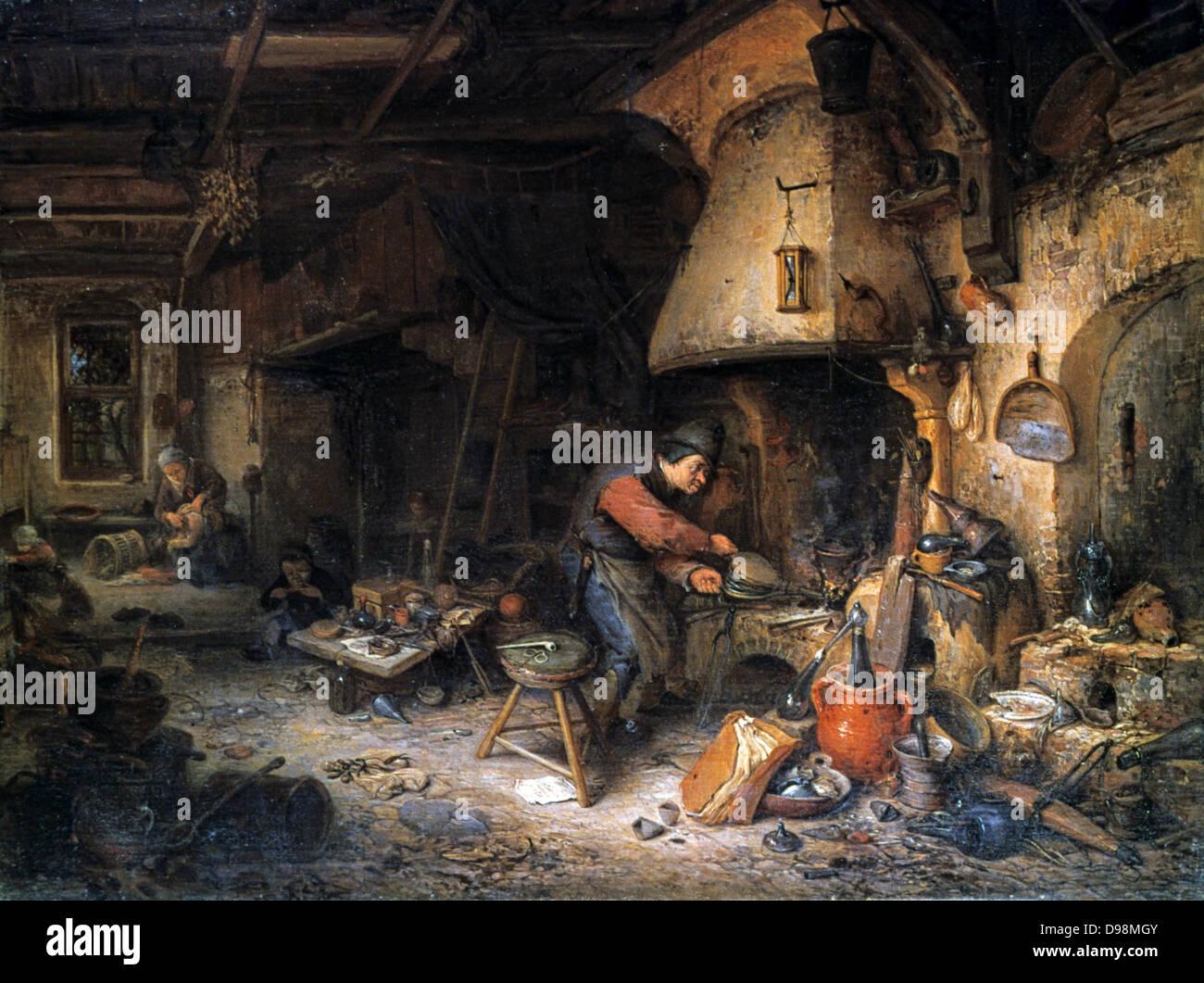 The Alchemist' 1661. Oil on panel. Adriaen van Ostade (1610-1685) Dutch genre painter. Alchemist applying bellows - Stock Image