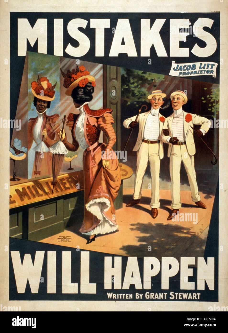 Mistakes will happen c1905. (poster) : lithograph. American theatre poster showing African-american woman gazing - Stock Image