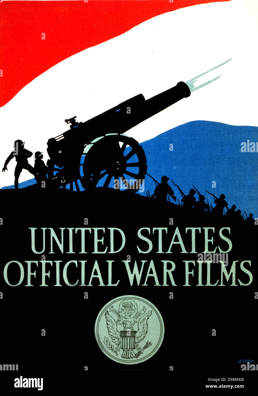United States official war films [1917] Poster showing silhouette of soldiers and firing cannon against a red, white, - Stock Image