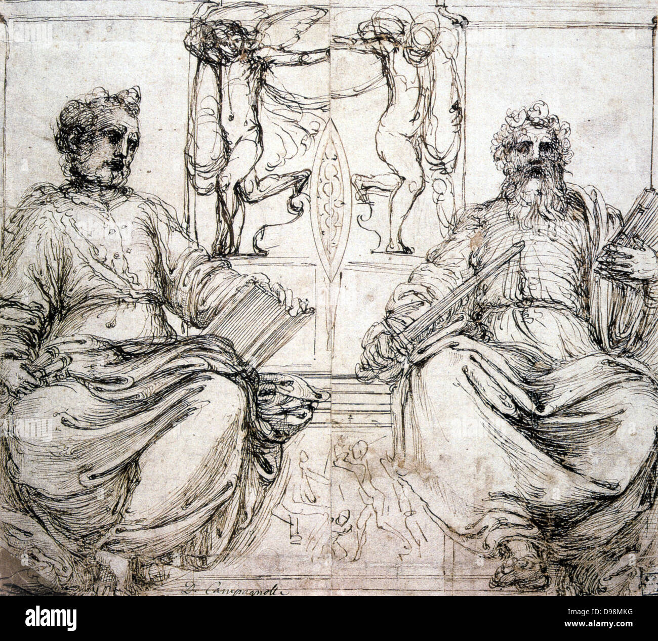 St Peter and St Paul' Sepia ink on paper. Perino del Vaga (1501-1547) Italian painter and decorative artist. - Stock Image