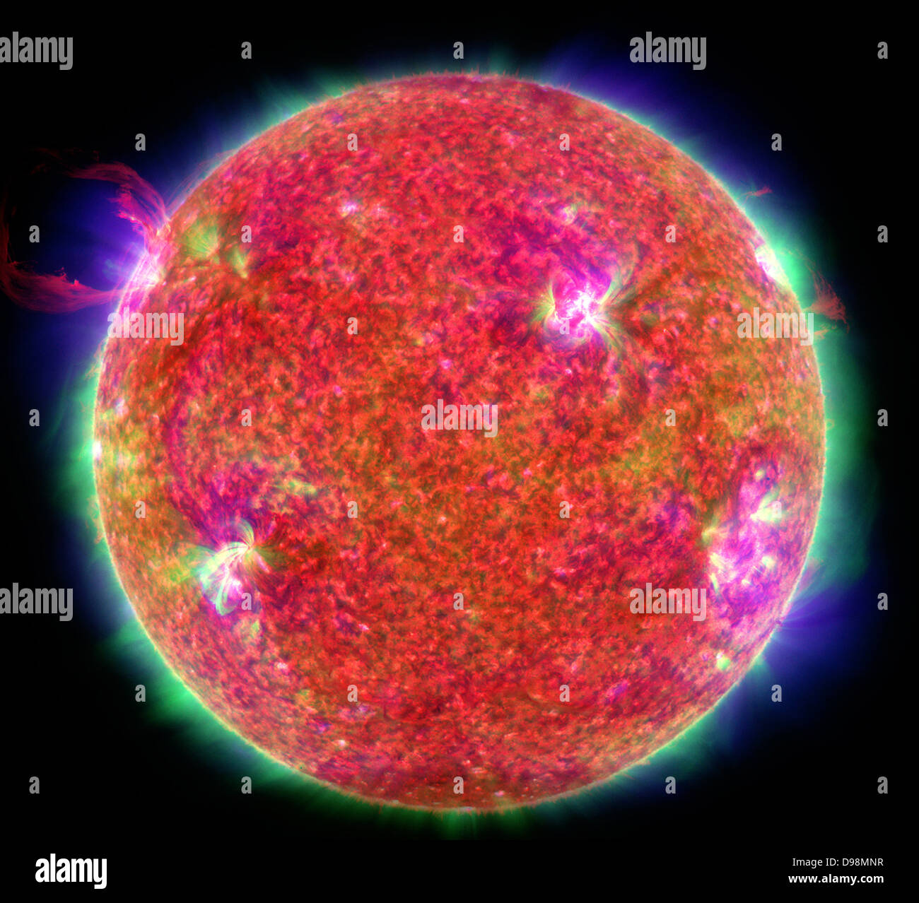 first light' image from the three state-of-the art instruments on NASA's Solar Dynamics Observatory (SDO) - Stock Image