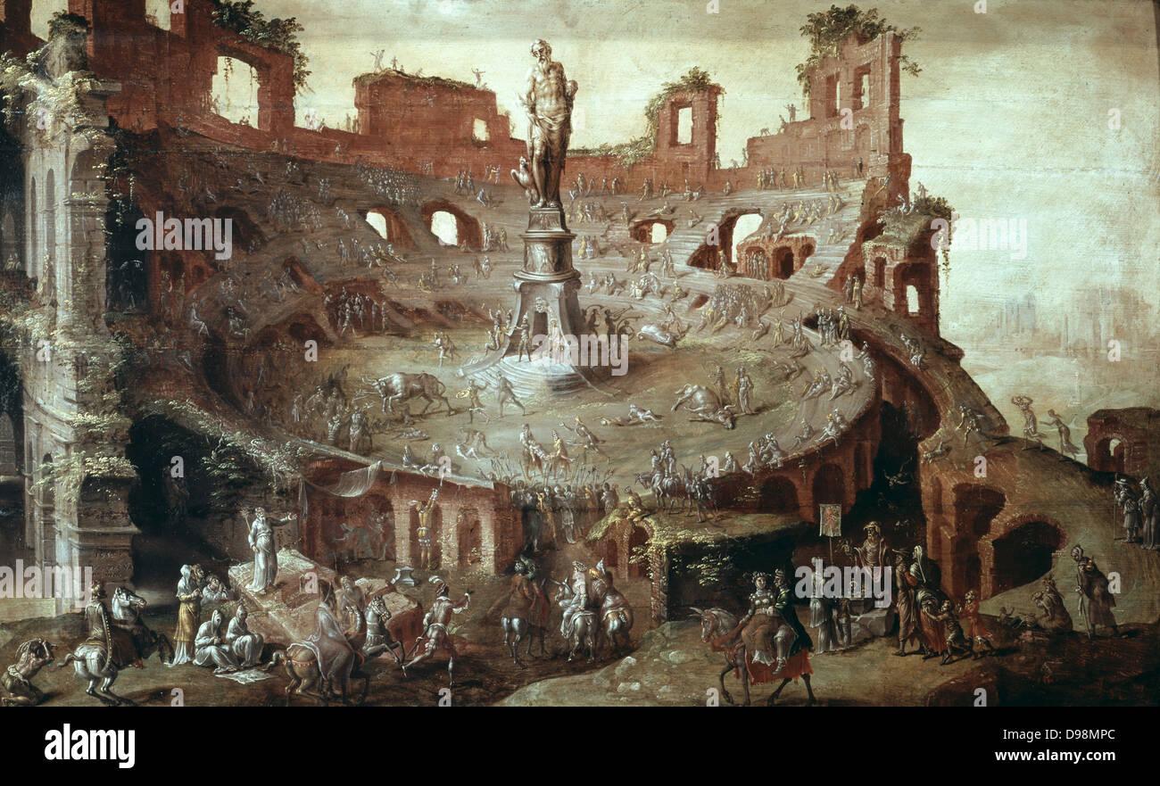 Bullfight in Antique Arena', 1552. Oil on canvas. Maerten van Heemskerck (1498-1574) Dutch Mannerist painter. - Stock Image
