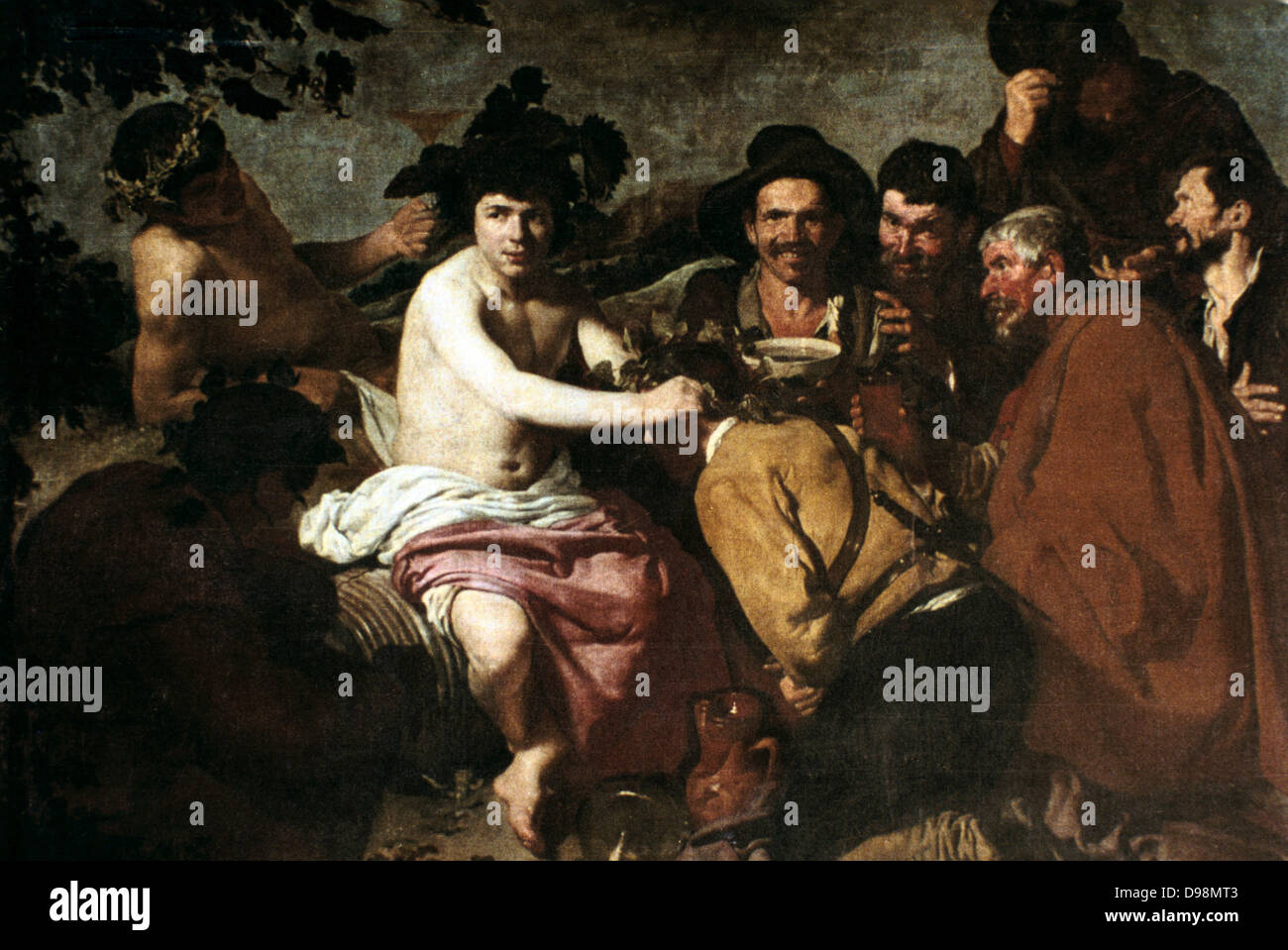 Feast of Bacchus' also called 'The Drinkers'. Diego Velasquez (1599-1660) Spanish painter. Dionysius, in Greek mythology Stock Photo