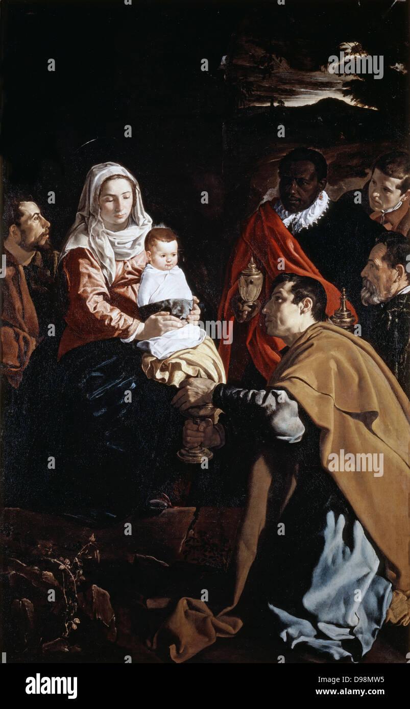 Adoration of the Magi', c1619. Oil on canvas. Diego Velasquez (1599-1660) Spanish painter. - Stock Image