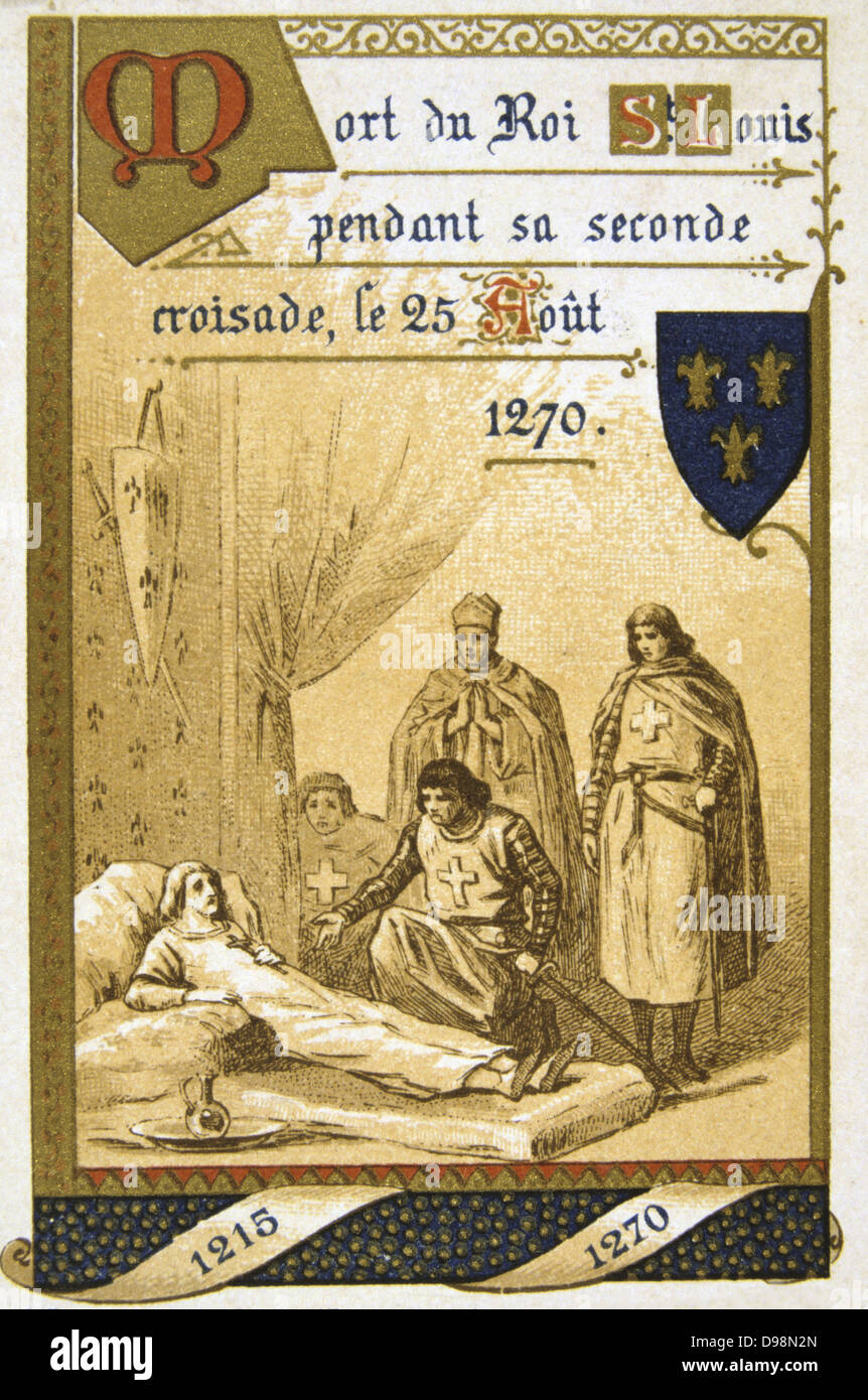 Louis IX of France (Saint Louis 1214-1270). Louis dying of plague or  dysentry at Tunis on his second Crusade. Nineteenth