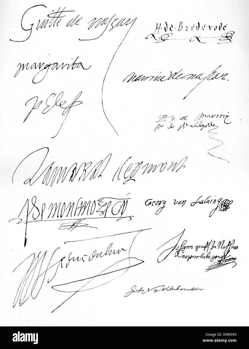 Original signatures (left) Prince William of Orange (1581); Margaret of Parma (2 April 1572), Philip II (1563); - Stock Image