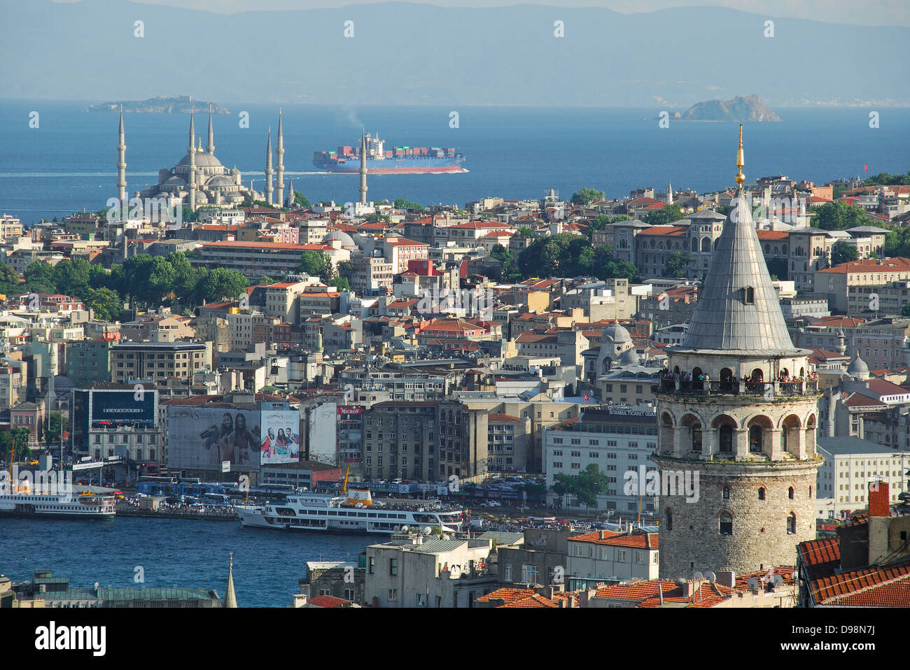 ISTANBUL, TURKEY. A view of Sultanahmet, the Blue Mosque and the Sea of Marmara, with the Galata Tower in Beyoglu - Stock Image