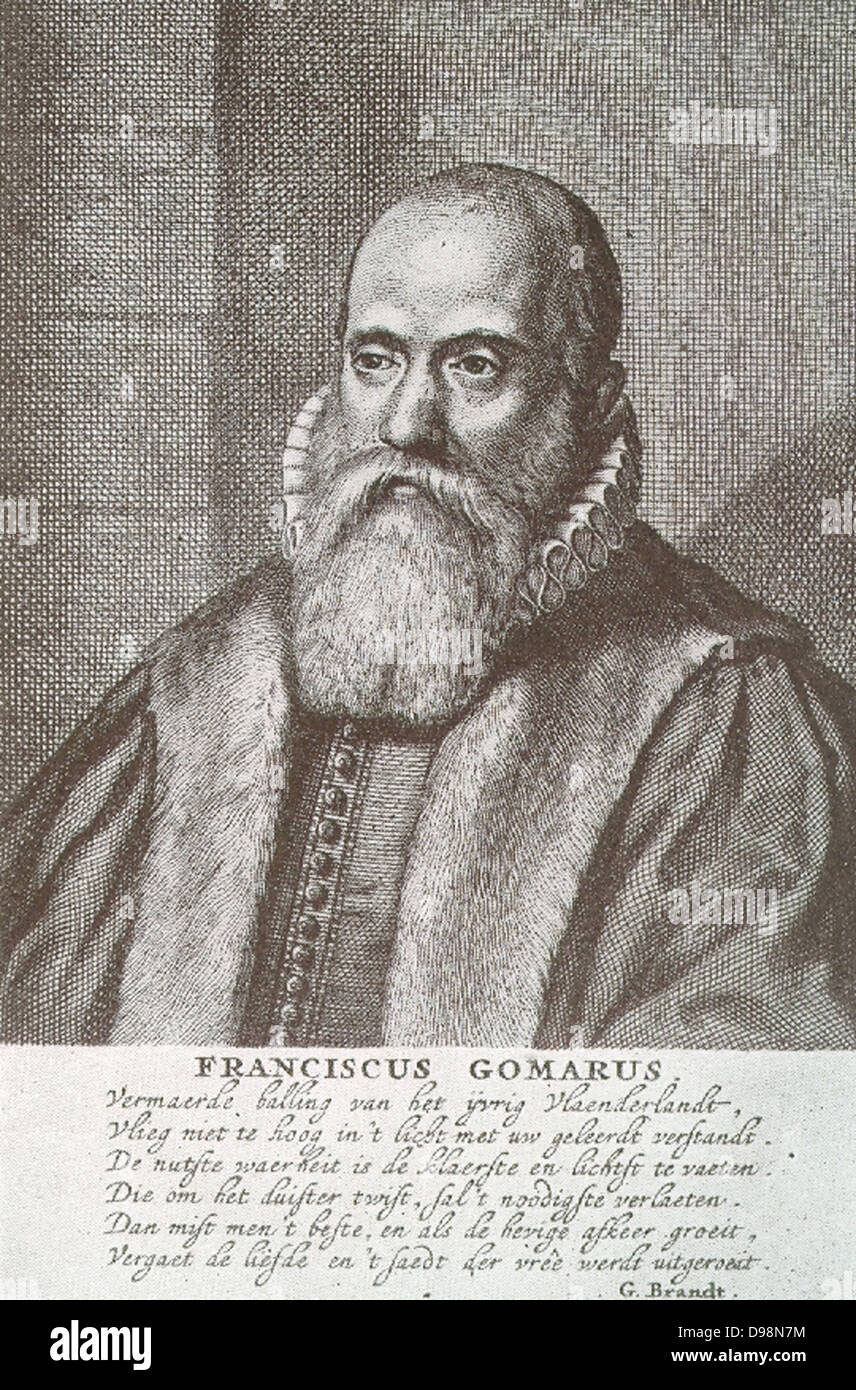 Franciscus Gomarus (1563 - 1641), professor of theology at Leiden, the doctrine of predestination, His work led - Stock Image