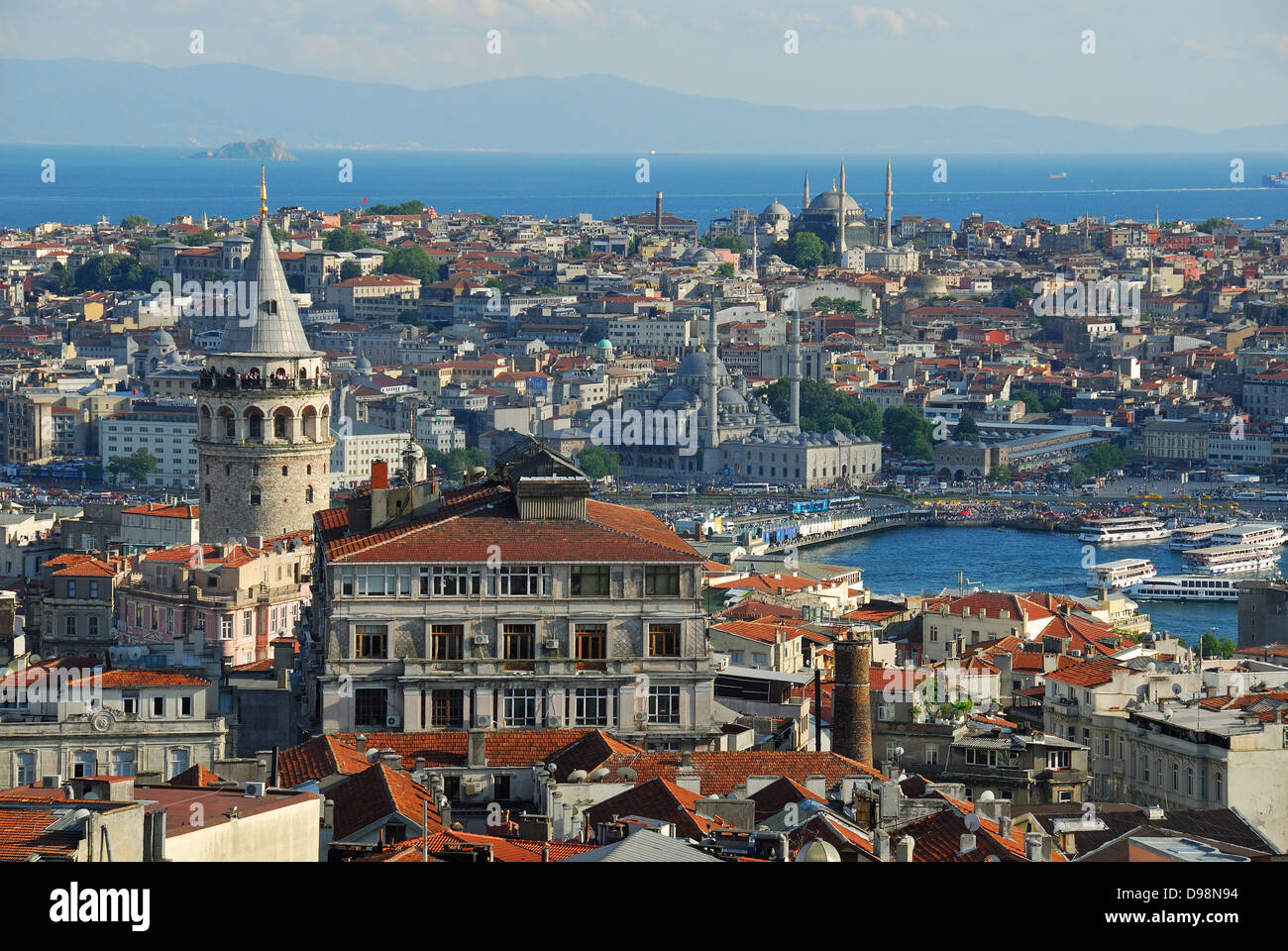 ISTANBUL, TURKEY. An elevated view over Beyoglu towards the historic bazaar district of the old city. - Stock Image