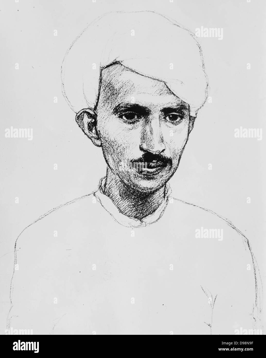 Drawing of Mahattma Gandhi by William Pogany ( 1882 – 1955) Hungarian illustrator - Stock Image