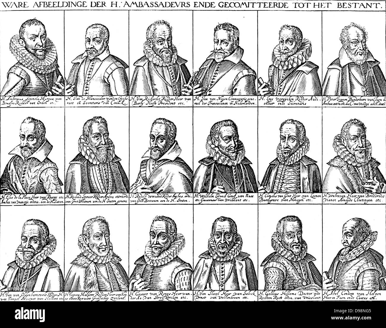 ambassadors to the negotiations at the conclusion of the Twelve Years Truce (1609-1621)The Twelve Years' Truce - Stock Image