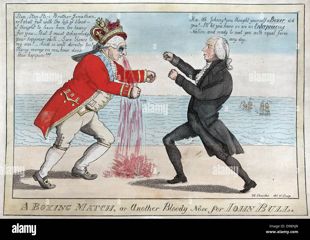 War of 1812 (Anglo-American War 1812-1815): 'The Boxing Match, or Another  Bloody Nose for John Bull'. George III wounded by