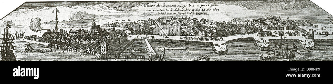 New Amsterdam (later New York) depicted in 1673. - Stock Image