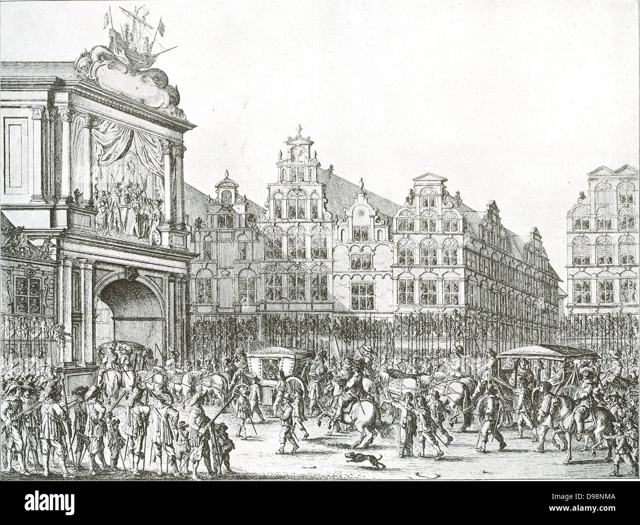 Celebrations marking the entry of Marie de Medici into Amsterdam in 1638 Marie de Medici (26 April 1575 – 4 July - Stock Image