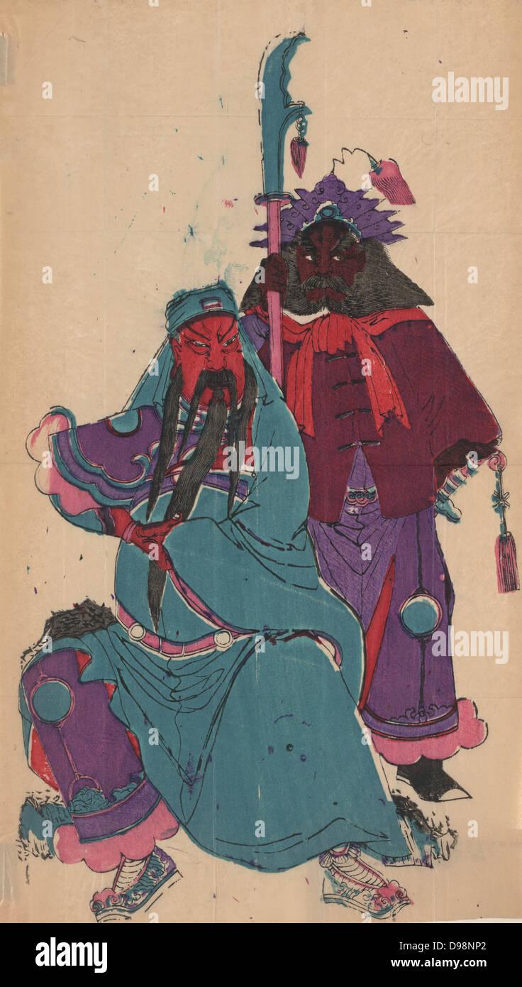 Kuan Yu (162-220) and his squire Chou-tsang. Chinese military hero, canonized in 1594 as Guan Di, god of War (Taoist) - Stock Image