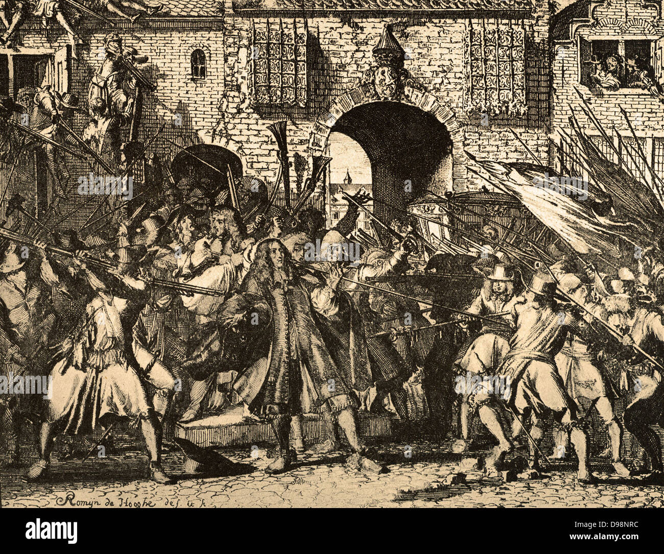 the murder of the brothers Johan and Cornelis de Witt, at The Hague on 20 August 1672. - Stock Image