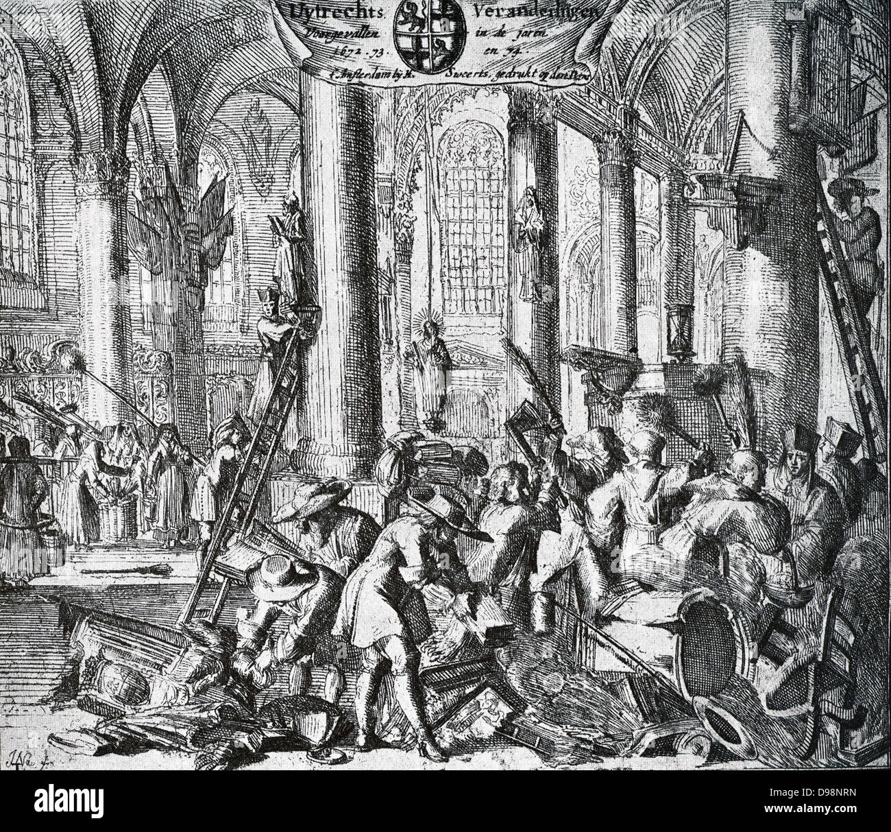 1672-1674. In 1672 when the French had taken possession of Utrecht, the cathedral was again brought into use for - Stock Image