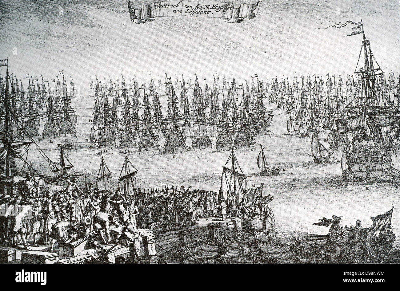 William III landed at Torbay on 5 November 1688 in 463 ships, unopposed by the Royal Navy and with an army of 14,000 - Stock Image