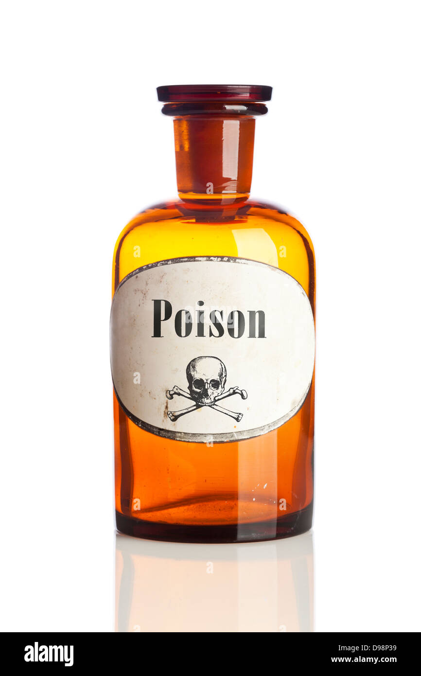 Bottle of poison with skull and crossbones warning sign on label - Stock Image