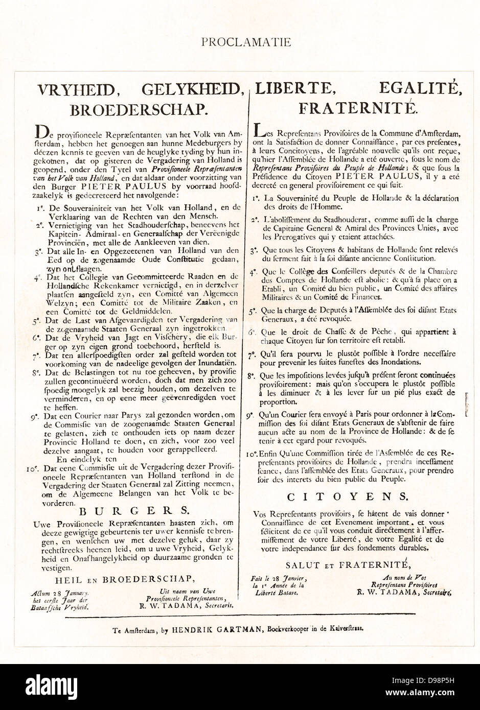 Publication in the Netherlands of a French and Dutch version of the Proclamation of rights in the aftermath of the - Stock Image
