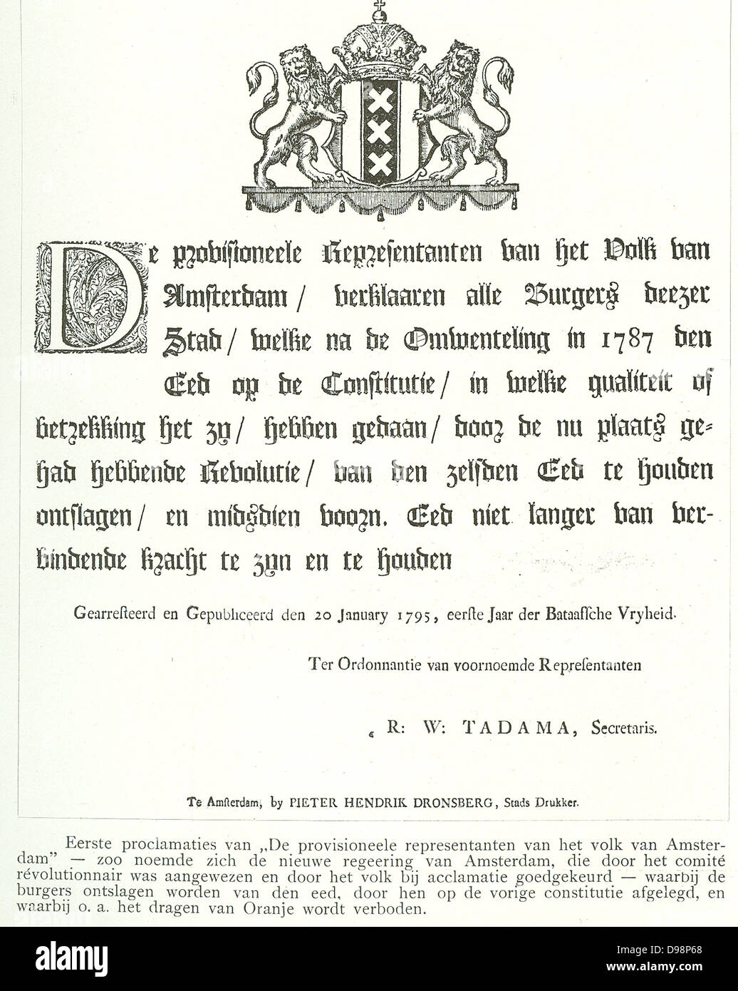 Proclamations of the provisional representation of the people of Amsterdam during the revolutions in Holland 1795 - Stock Image