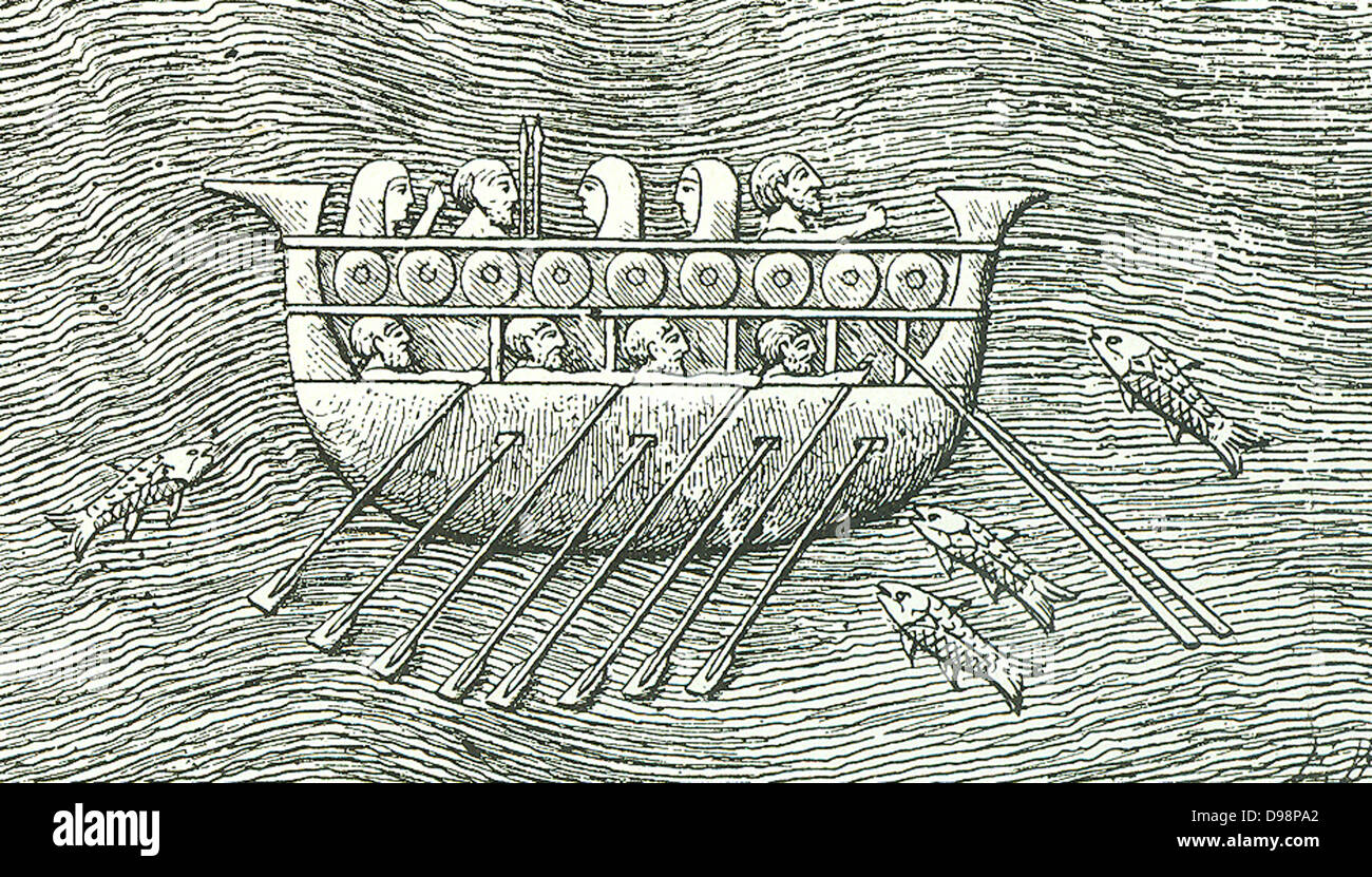 A Phoenician cargo ship - similar ships were used by the Pharaoh Necho.  Approx. (600 BC) for the voyage described - Stock Image