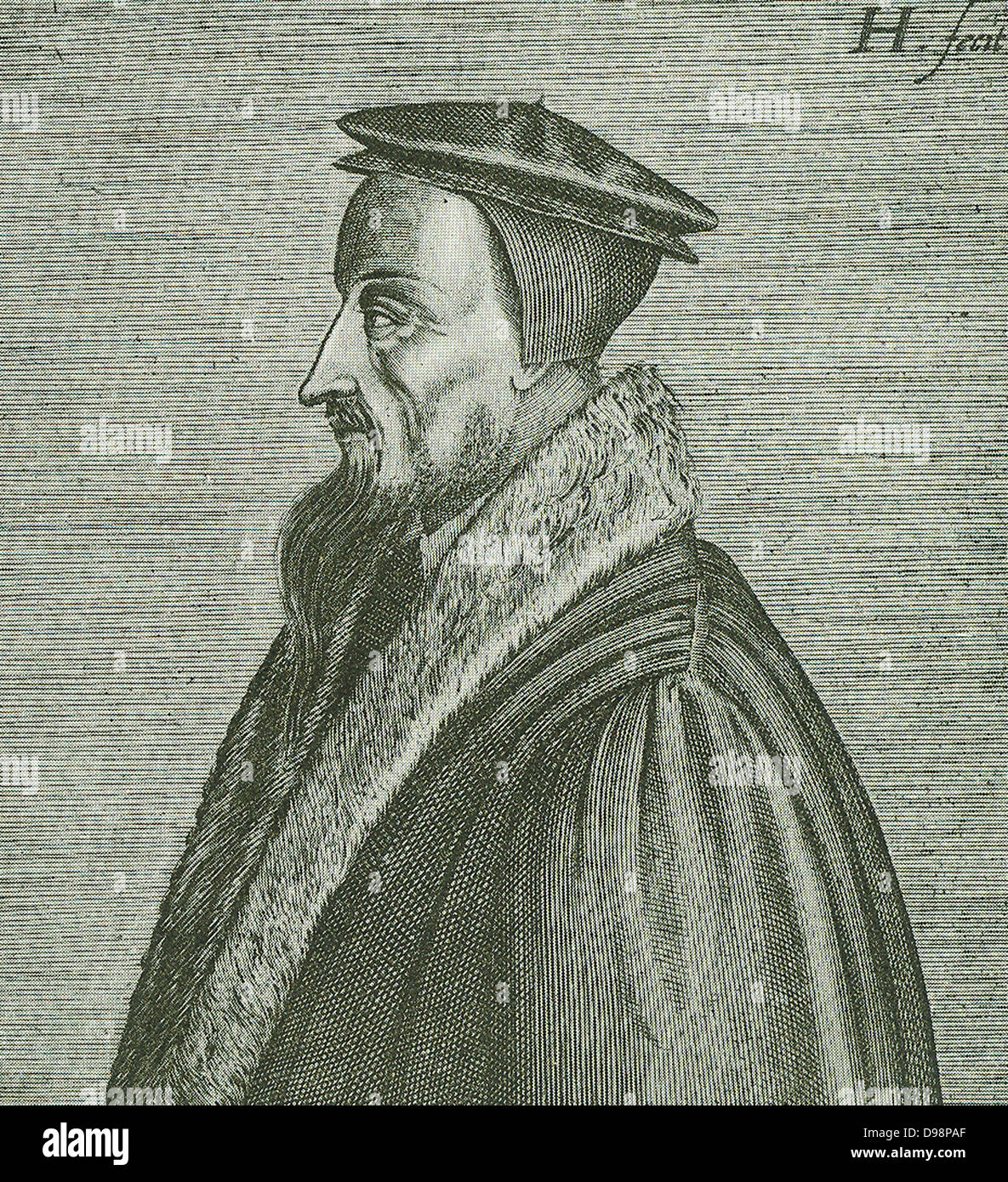 John Calvin (1509-1564) the great French reformer, is renowned for his work 'The Institutes of the Christian - Stock Image